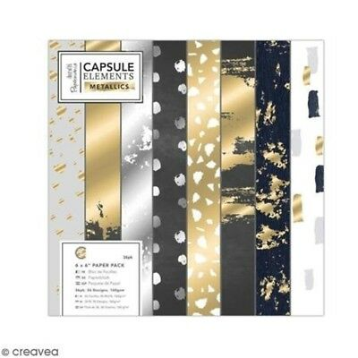 "Elements Metallics Neutral Foiled Craft Collection - 6 x 6"" Craft Paper Pack -"