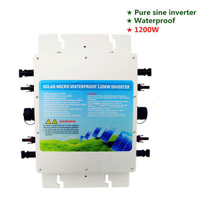 1.2KW waterproof grid tie Pure Sine inverter with MPPT function for solar panel