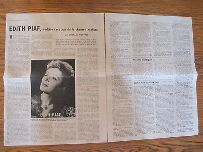 Vintage 1956,edith Piaf French Clippings