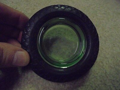 Vintage Goodyear Airwheel Tire Ashtray Green Glass