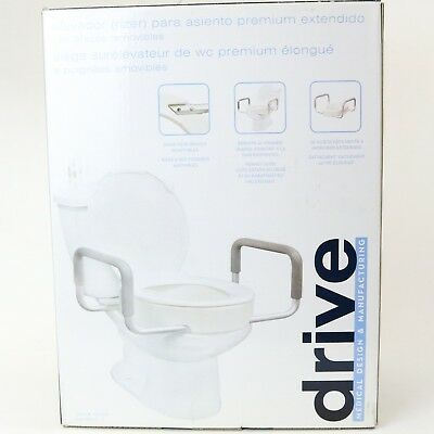 Drive Toilet Seat Riser Removable Arm Elongated Elevated White Metal Bathroom