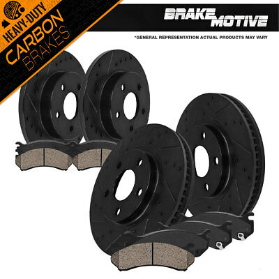 Front+Rear Rotors Carbon Ceramic Pads 1999 2000 2001 - 2004 Jeep Grand Cherokee