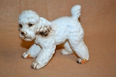 """Vtg Playful Cute French Poodle Puppy Dog Figurine 4"""" Long"""