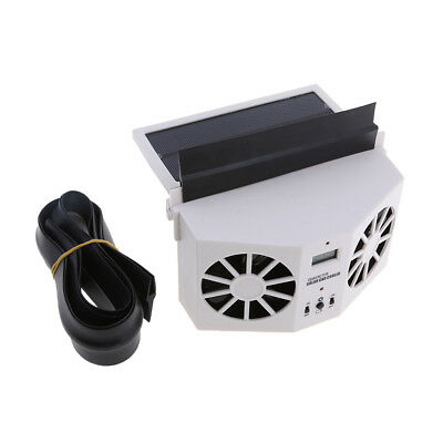Solar Powered Car Air Vent Exhaust Fan Radiator Vent with Ventilation white