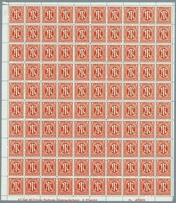 BIZONE AM-POST Mi. 5 z ** Bogen (UL) amerik. Druck, Full Sheet MNH