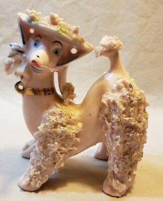 Vintage Japan Pink Spaghetti Poodle 1950's Dog Figurine With Bonnet MID-CENTURY