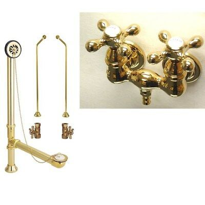 Polished Brass Wall Mount Clawfoot Bath Tub Filler Faucet Package CC37T2