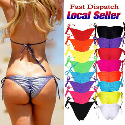 Brazilian Women Bikini Bottom Scrunched Ruched Side-Tie Swimwear Swimsuit SFC