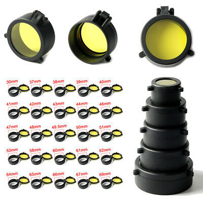 Hunting 30-69mm Dustproof Yellow Scope Cover Lens Covers Caps   Rifle Scope 2PCS