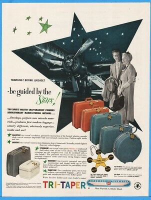 1956 American Tourister West Warwick RI Tri-Taper Luggage American Airlines Ad