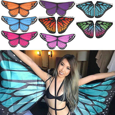 Hot Adult Soft Fabric Butterfly Wings Ladies Fairy Nymph Pixie Costume Accessory