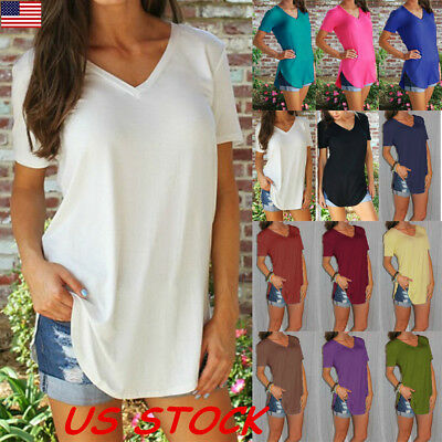 USA Women's A-Line V-Neck Loose Short Sleeve Tunic Top T-Shirt Blouse Plus Size