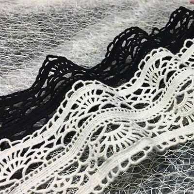 1y Black White Cotton Ribbon Lace Apparel Sewing Trimming Vintage Embroidered