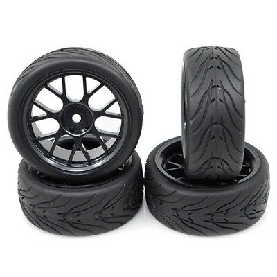 Wheels & RUBBER tyres for 1:10 RC cars Black may suit Tamiya Sakura HPI +3