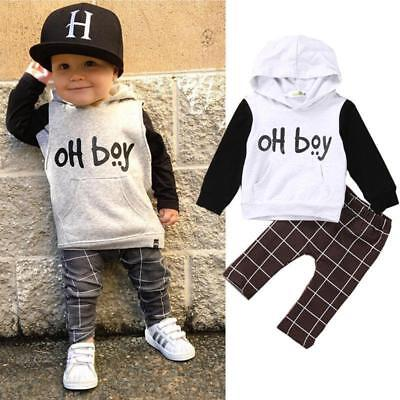Toddler Baby Boy Girls Clothes Sweatshirt T-shirt Tops+Pants Outfits Set LG