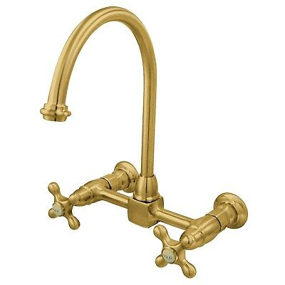 High Arch Metal Cross Handle Polished Brass Wall Mount Kitchen Faucet KS1292AX