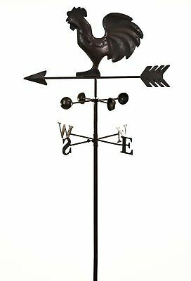 Dark Metal Cockerel Wind Weathervane Weather Garden Ornament