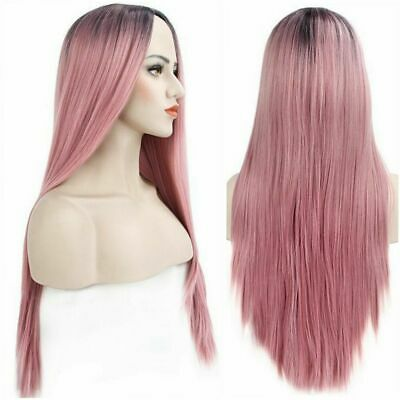 "26"" Beauty Dark Rooted Ombre Christmas Party Ladies Pink Long Straight Hair Wig"