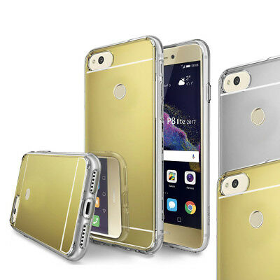 For Huawei P8 Lite 2017 Case - Luxury Thin Mirror Bumper TPU Silicone Case Cover