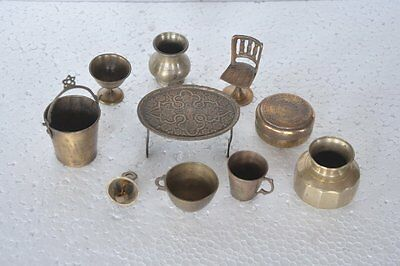 10 Pc Old Brass Handcrafted Small/ Penny Different Baby Doll House Items