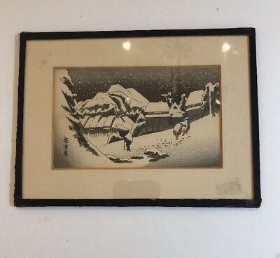 Antique Original Night  Snow  Scene Japanese Woodblock Print Signed ?????