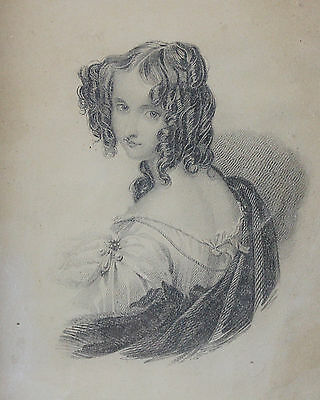 19th Century Figural Portrait Pencil Sketch Drawing Beautiful Young Lady