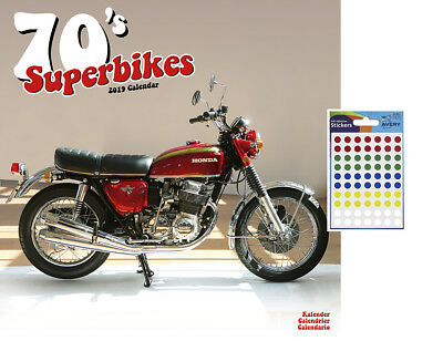 Seventies Bikes 2019 Wall Calendar - Includes 70 Coloured Dot Stickers