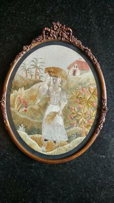 Large Georgian Silk & Wool Embroidered Picture of Harvesting Scene
