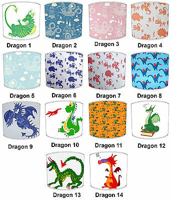 Children`s Dragon Lampshades, Ideal To Match Kids Dragons Quilts & Bedspreads.