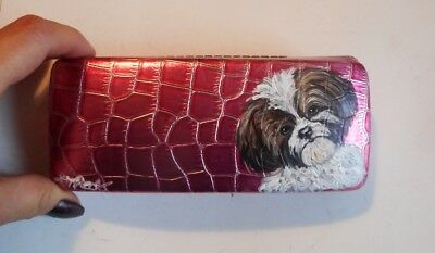 Shih Tzu Dog Hand Painted Eyeglass case Vegan Pink