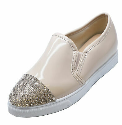 Ladies Beige Diamante Flat Loafers Trainers Plimsoll Casual Pumps Shoes Uk 3-8