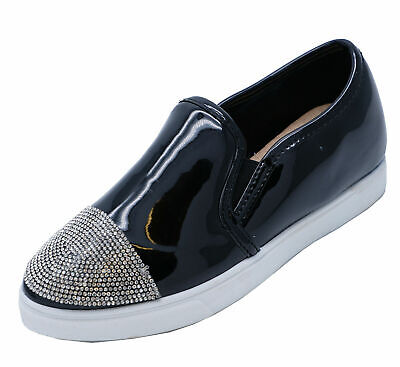 Ladies Black Diamante Flat Loafers Trainers Plimsoll Casual Pumps Shoes Uk 3-8