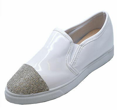 Ladies White Diamante Flat Loafers Trainers Plimsoll Casual Pumps Shoes Uk 3-8