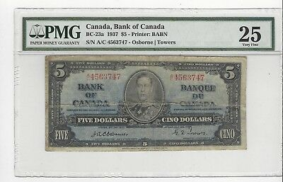 **1937**Osborne/Towers $5 Note BC-23a ;PMG VF-25 SN# A/C 4563747