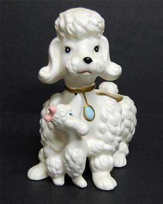 Vintage ENESCO Ceramic Momma Poodle Planter with Baby Pup Mother & Puppy