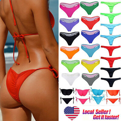 Women Lady HOT Brazilian Cheeky Bikini Bottom Thong Bathing Swimsuit Swimwear SF