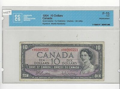 *1954*Bank of Can BC-40bA, $10 Repl Note Bea/Ras CCCS F-15,  SN# *U/T 0205553
