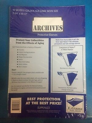 50 E. Gerber Mylar Archives 4 Mil Thick Silver/Gold Comic Book Bags sleeves 775R