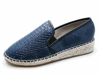 Ladies Navy Slip-On Flat Loafers Espadrille Plimsoll Casual Pumps Shoes Uk 3-8