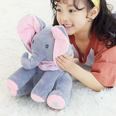 Peek-a-boo Singing Elephant Plush Toy Stuffed Music Doll Animated Kids Xmas Gift