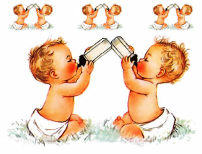 Vintage Image Retro Shabby Twin Babies Bottle Transfers Decoupage Decals BAB606