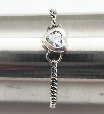 1f69d751a Spirited CZ Heart Chain Ring w Signature Band Sterling Silver Size 52 US 6