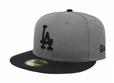 New Era 59Fifty Cap MLB Los Angeles Dodgers Mens Adult Size Gray Fitted 5950 Hat