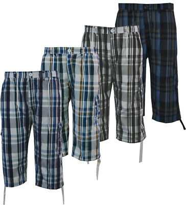 95a0a2ef11 Mens Checked 3/4 Elasticated Waist Long Shorts Cargo Combat Zip Fly M-3XL