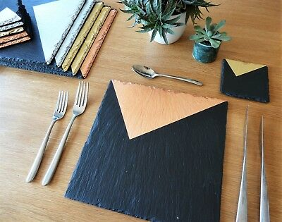 Slate placemats & coasters, copper, silver, gold, handmade UK, geometric design