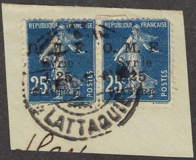 SYRIA-FRANCE-TURKEY 1922 LATTAQUIE FULL CANCEL C&W #82 TYING PAIR FRANCE SG #96b