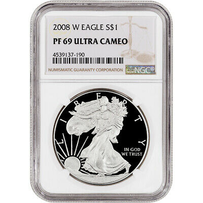 2008-W American Silver Eagle Proof - NGC PF69 UCAM - Large Label