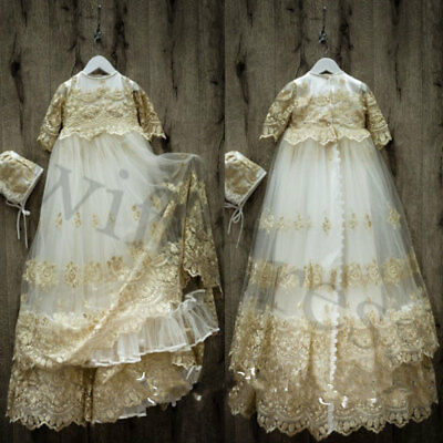 Vintage Champagne Lace Robe Baby Baptism Dresses Christening Gowns Bonnet 0-24 M