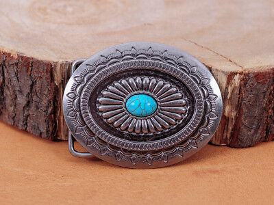 Vintage Silver Native American Indian Navajo Floral Turquoise Belt Buckle Huge