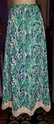 Vtg 60's Sz 6 The Lilly Pulitzer Lily Of The Valley Floral Maxi Crochet Skirt